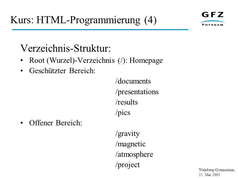 Weinberg-Gymnasium, 21. Mai 2003 Kurs: HTML-Programmierung (4) Verzeichnis-Struktur: Root (Wurzel)-Verzeichnis (/): Homepage Geschützter Bereich: /doc