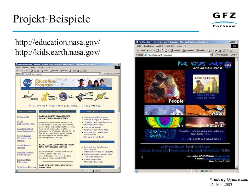 Weinberg-Gymnasium, 21. Mai 2003 Projekt-Beispiele http://education.nasa.gov/ http://kids.earth.nasa.gov/