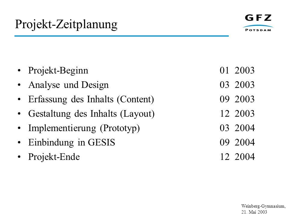 Weinberg-Gymnasium, 21. Mai 2003 Projekt-Zeitplanung Projekt-Beginn01 2003 Analyse und Design03 2003 Erfassung des Inhalts (Content)09 2003 Gestaltung