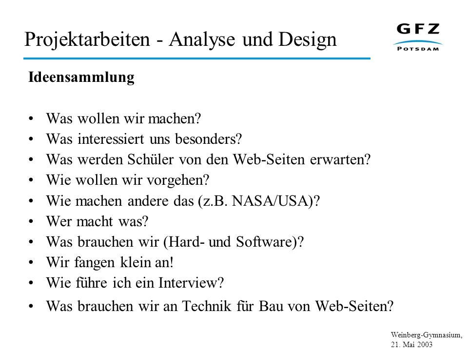Weinberg-Gymnasium, 21. Mai 2003 Projektarbeiten - Analyse und Design Ideensammlung Was wollen wir machen? Was interessiert uns besonders? Was werden