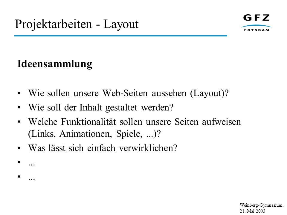 Weinberg-Gymnasium, 21. Mai 2003 Projektarbeiten - Layout Ideensammlung Wie sollen unsere Web-Seiten aussehen (Layout)? Wie soll der Inhalt gestaltet