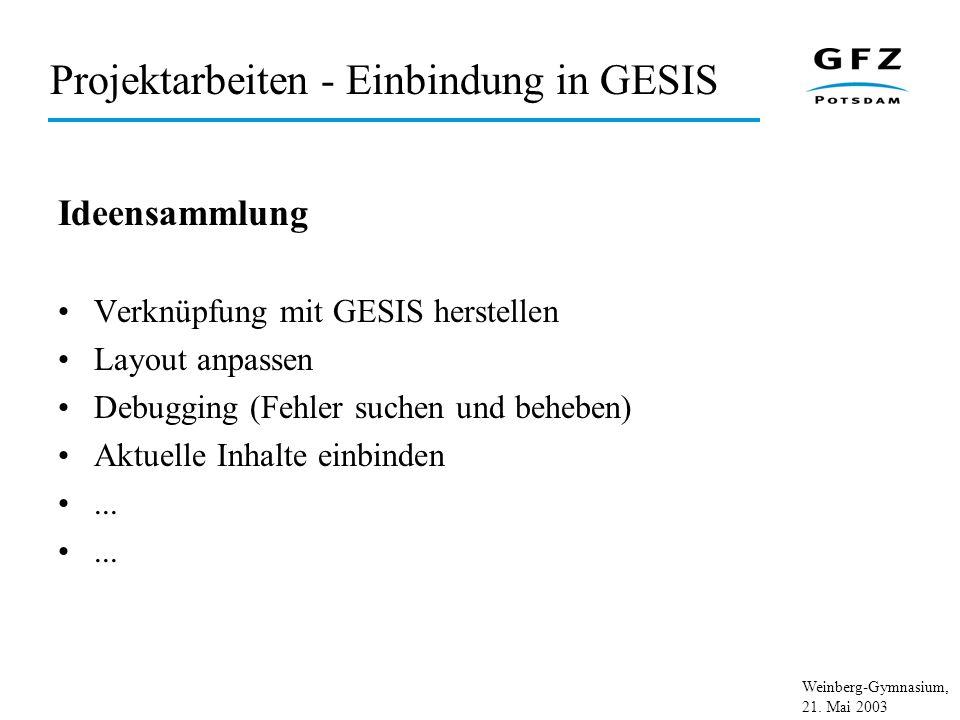 Weinberg-Gymnasium, 21. Mai 2003 Projektarbeiten - Einbindung in GESIS Ideensammlung Verknüpfung mit GESIS herstellen Layout anpassen Debugging (Fehle
