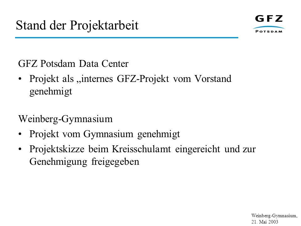 Weinberg-Gymnasium, 21. Mai 2003 Stand der Projektarbeit GFZ Potsdam Data Center Projekt als internes GFZ-Projekt vom Vorstand genehmigt Weinberg-Gymn