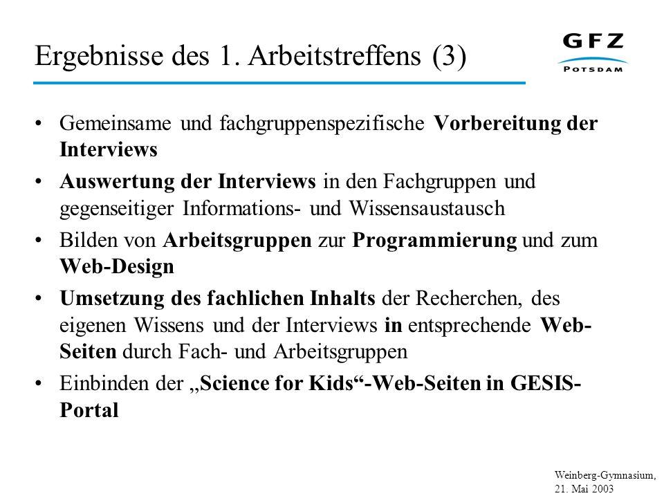 Weinberg-Gymnasium, 21. Mai 2003 Ergebnisse des 1. Arbeitstreffens (3) Gemeinsame und fachgruppenspezifische Vorbereitung der Interviews Auswertung de