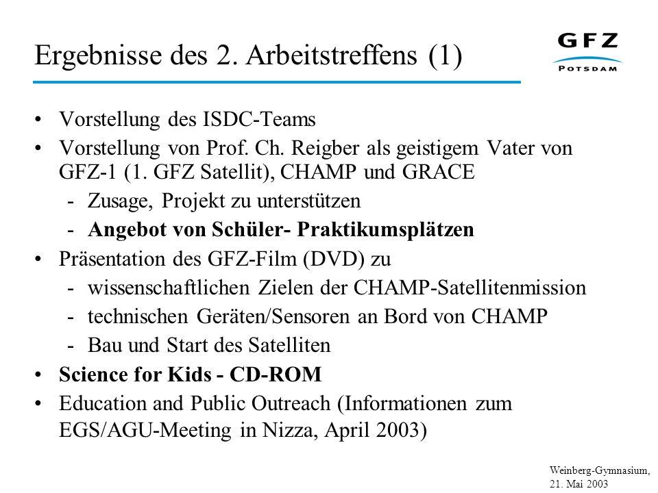 Weinberg-Gymnasium, 21. Mai 2003 Ergebnisse des 2. Arbeitstreffens (1) Vorstellung des ISDC-Teams Vorstellung von Prof. Ch. Reigber als geistigem Vate