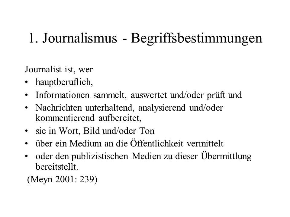1. Journalismus - Begriffsbestimmungen Journalist ist, wer hauptberuflich, Informationen sammelt, auswertet und/oder prüft und Nachrichten unterhalten