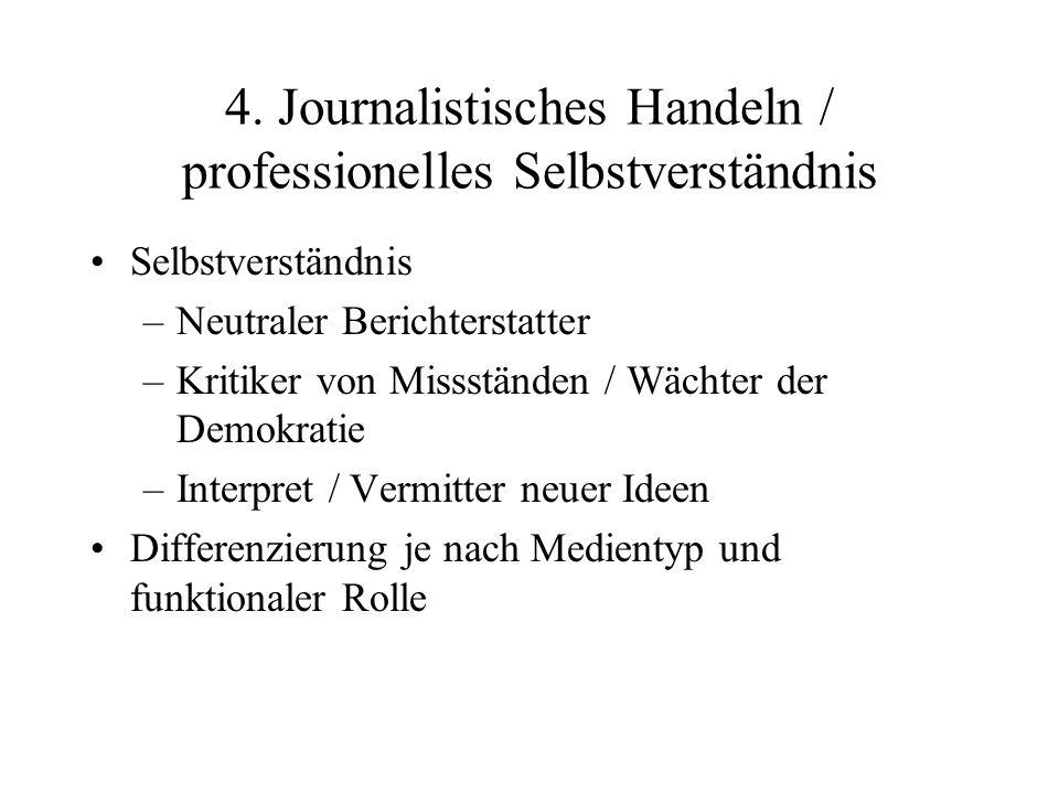 4. Journalistisches Handeln / professionelles Selbstverständnis Selbstverständnis –Neutraler Berichterstatter –Kritiker von Missständen / Wächter der