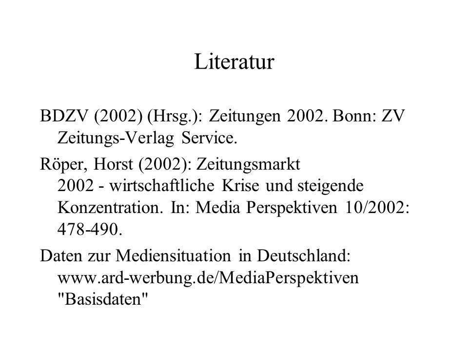 Literatur BDZV (2002) (Hrsg.): Zeitungen 2002. Bonn: ZV Zeitungs Verlag Service. Röper, Horst (2002): Zeitungsmarkt 2002 wirtschaftliche Krise und ste