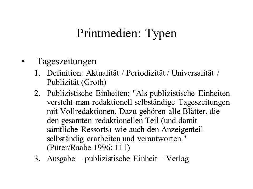 Printmedien: Typen Tageszeitungen 1.Definition: Aktualität / Periodizität / Universalität / Publizität (Groth) 2.Publizistische Einheiten: