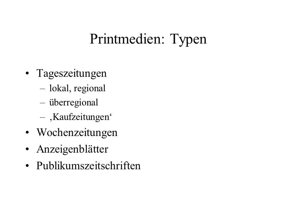 Marktstruktur: Tageszeitungen Axel Springer Verlag23,4% Verlagsgruppe WAZ 6,1% Verlagsgruppe Stuttgarter Zeitung / Rheinpfalz/Südwestpresse 4,9% Verlagsgruppe DuMont Schauberg 4,2% Ippen Gruppe 3,8% Marktanteil der fünf größten Verlage 42,3% Holtzbrink 3,4% Frankfurter Allgemeine Zeitung 2,9% Gruner&Jahr 2,8% Süddeutsche Zeitung 2,6% Madsack 2,2% Marktanteil der zehn größten Verlage56,3% Quelle: Röper 2002, 484