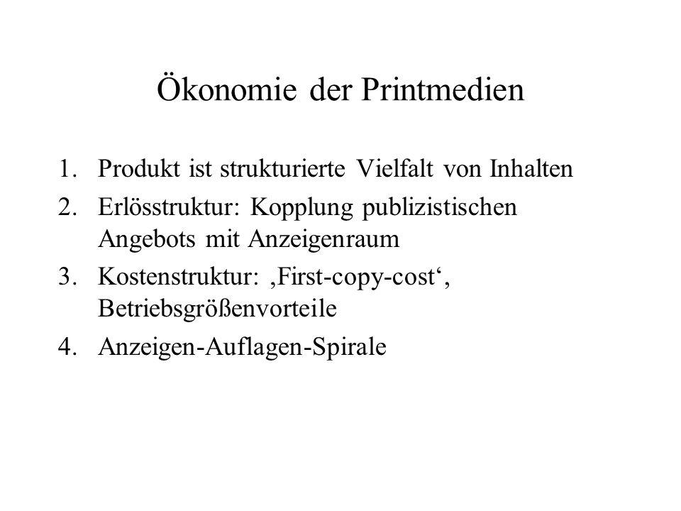 Ökonomie der Printmedien 1.Produkt ist strukturierte Vielfalt von Inhalten 2.Erlösstruktur: Kopplung publizistischen Angebots mit Anzeigenraum 3.Koste