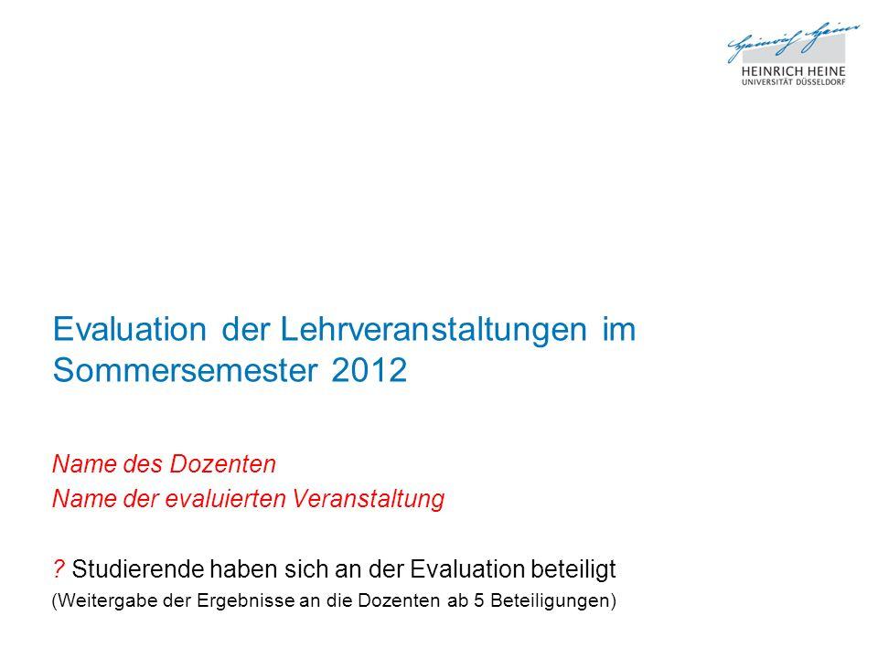 Evaluation der Lehrveranstaltungen im Sommersemester 2012 Name des Dozenten Name der evaluierten Veranstaltung .