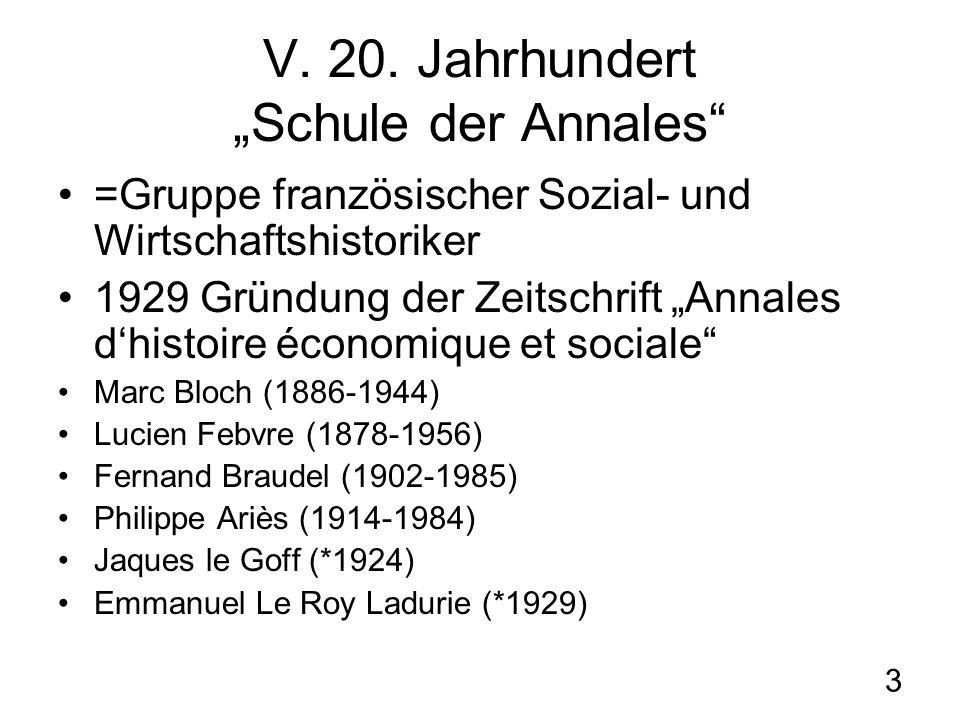 3 V. 20. Jahrhundert Schule der Annales =Gruppe französischer Sozial- und Wirtschaftshistoriker 1929 Gründung der Zeitschrift Annales dhistoire économ