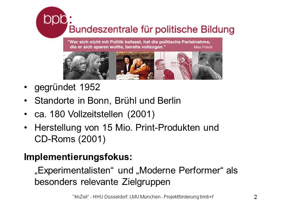 ImZiel - HHU Düsseldorf, LMU München - Projektförderung bmb+f 2 gegründet 1952 Standorte in Bonn, Brühl und Berlin ca.