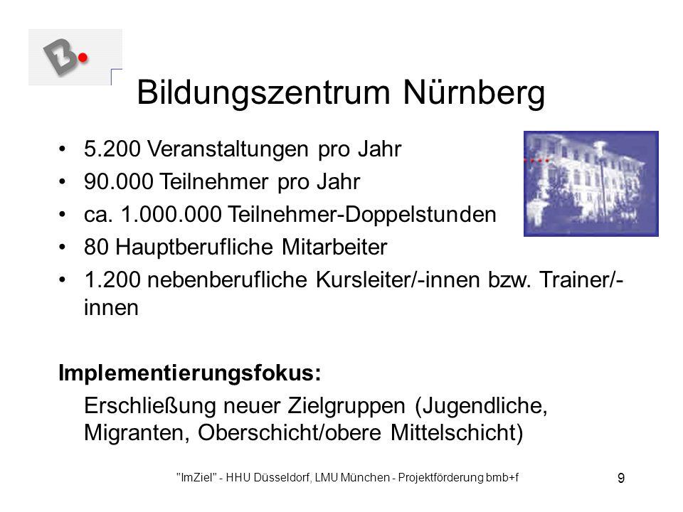 ImZiel - HHU Düsseldorf, LMU München - Projektförderung bmb+f 9 Bildungszentrum Nürnberg 5.200 Veranstaltungen pro Jahr 90.000 Teilnehmer pro Jahr ca.