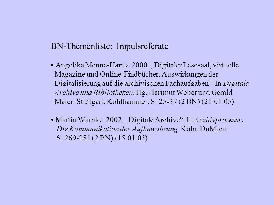 BN-Themenliste: Impulsreferate Angelika Menne-Haritz.