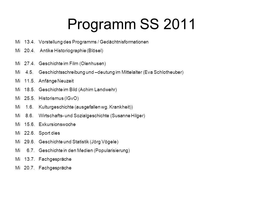 Programm SS 2011 Mi13.4.Vorstellung des Programms / Gedächtnisformationen Mi20.4. Antike Historiographie (Blösel) Mi 27.4.Geschichte im Film (Olenhuse