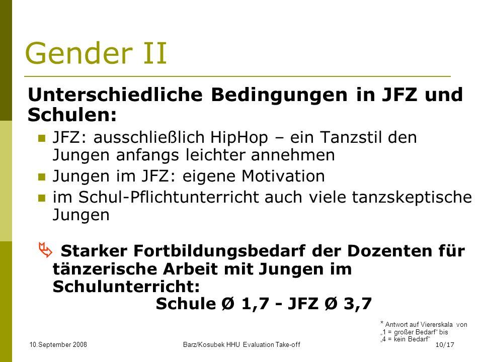 10.September 2008Barz/Kosubek HHU Evaluation Take-off10/17 Gender II Unterschiedliche Bedingungen in JFZ und Schulen: JFZ: ausschließlich HipHop – ein Tanzstil den Jungen anfangs leichter annehmen Jungen im JFZ: eigene Motivation im Schul-Pflichtunterricht auch viele tanzskeptische Jungen Starker Fortbildungsbedarf der Dozenten für tänzerische Arbeit mit Jungen im Schulunterricht: Schule Ø 1,7 - JFZ Ø 3,7 * Antwort auf Viererskala von 1 = großer Bedarf bis 4 = kein Bedarf