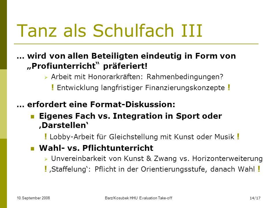 10.September 2008Barz/Kosubek HHU Evaluation Take-off14/17 Tanz als Schulfach III … wird von allen Beteiligten eindeutig in Form von Profiunterricht präferiert.
