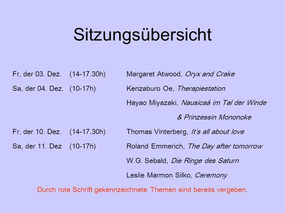Sitzungsübersicht Fr, der 03. Dez.(14-17.30h)Margaret Atwood, Oryx and Crake Sa, der 04. Dez. (10-17h)Kenzaburo Oe, Therapiestation Hayao Miyazaki, Na