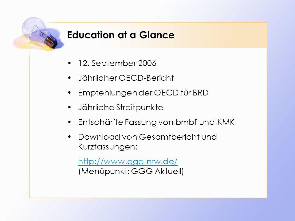Education at a Glance (2006) Hinweise auf Defizite des deutschen Bildungswesens I: formuliert im OECD-Summary (Schleicher): Wenige Sek.