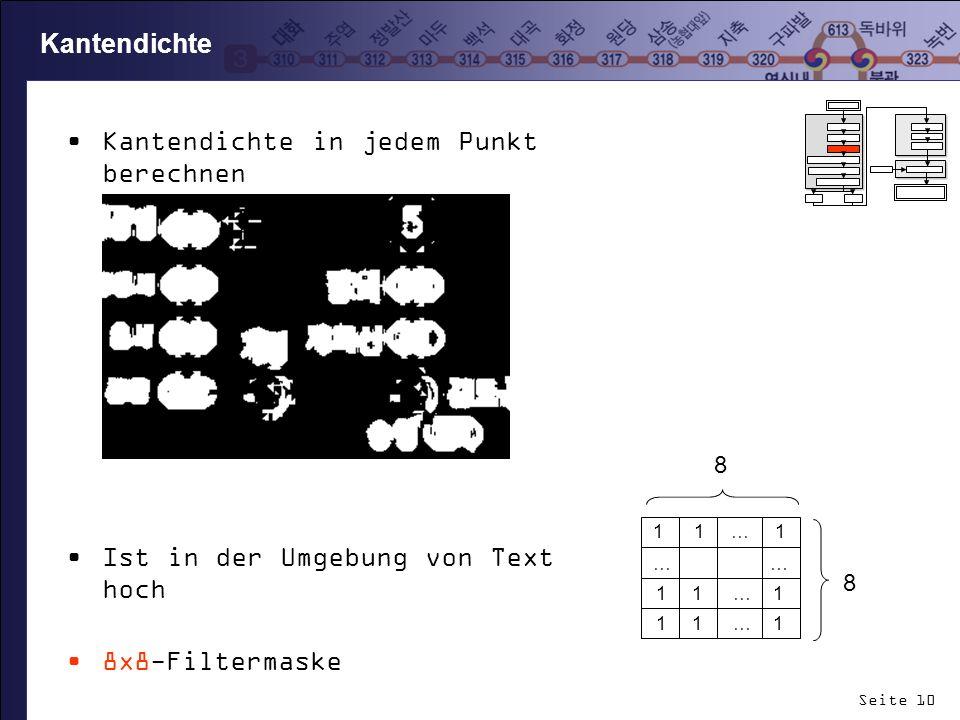 Seite 10 Kantendichte in jedem Punkt berechnen Ist in der Umgebung von Text hoch 8x8-Filtermaske Schwellwert: 10 Kantendichte 1 1 … 1 … … 1 1 … 1 8 8