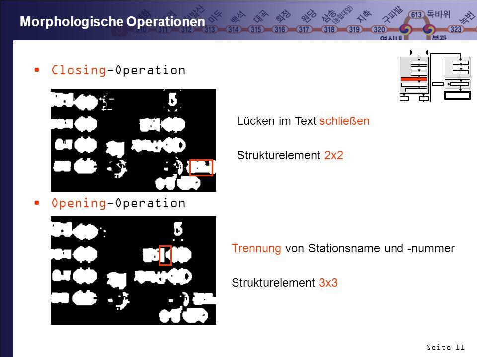Seite 11 Closing-Operation Opening-Operation Morphologische Operationen Lücken im Text schließen Strukturelement 2x2 Trennung von Stationsname und -nu