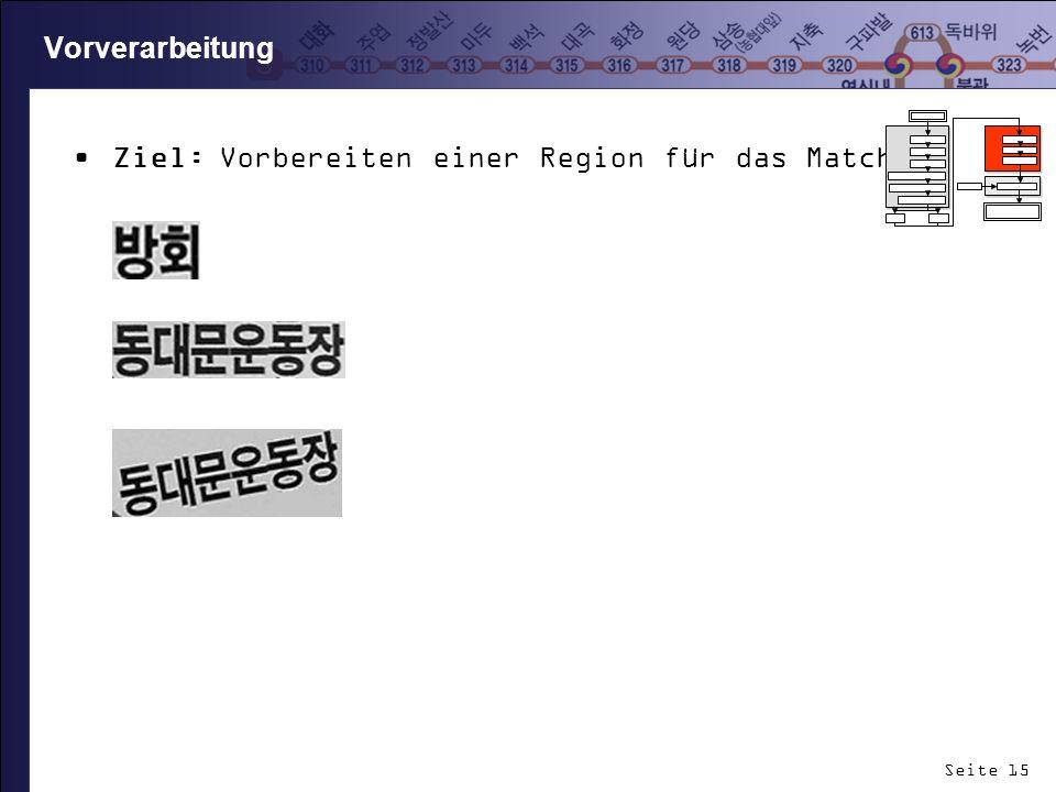 Seite 15 Vorverarbeitung Ziel: Vorbereiten einer Region für das Matching