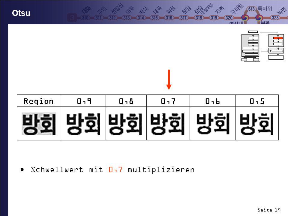 Seite 19 Otsu Schwellwert mit 0,7 multiplizieren Region0,90,80,70,60,5