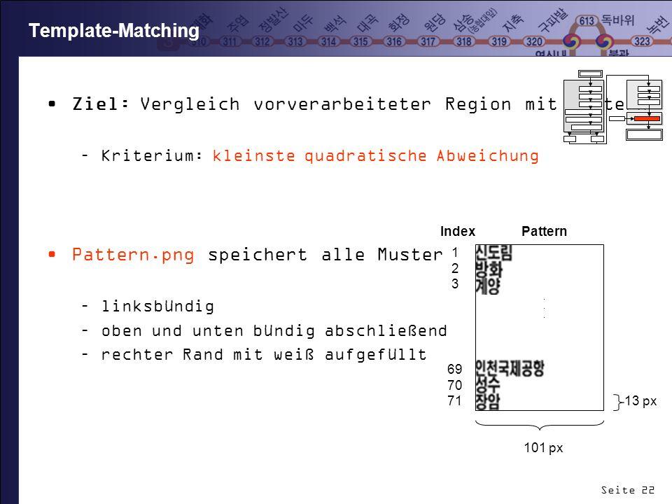 Seite 22 Template-Matching Ziel: Vergleich vorverarbeiteter Region mit Mustern –Kriterium: kleinste quadratische Abweichung Pattern.png speichert alle