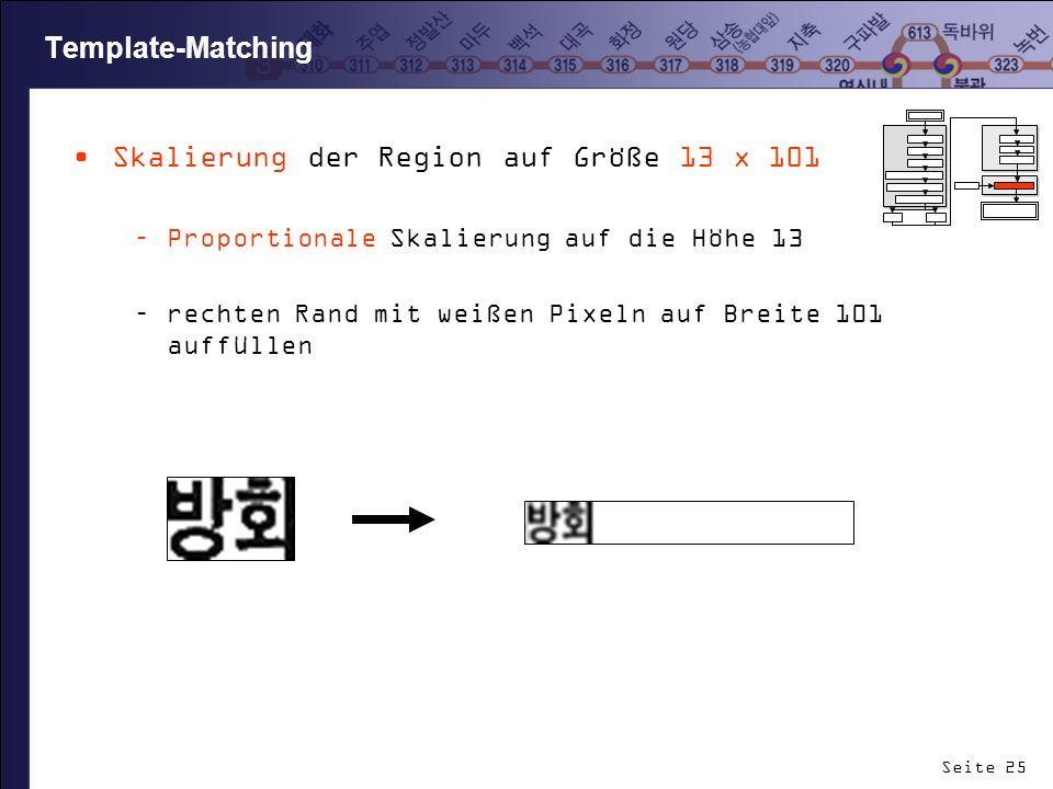 Seite 25 Template-Matching Skalierung der Region auf Größe 13 x 101 –Proportionale Skalierung auf die Höhe 13 –rechten Rand mit weißen Pixeln auf Brei