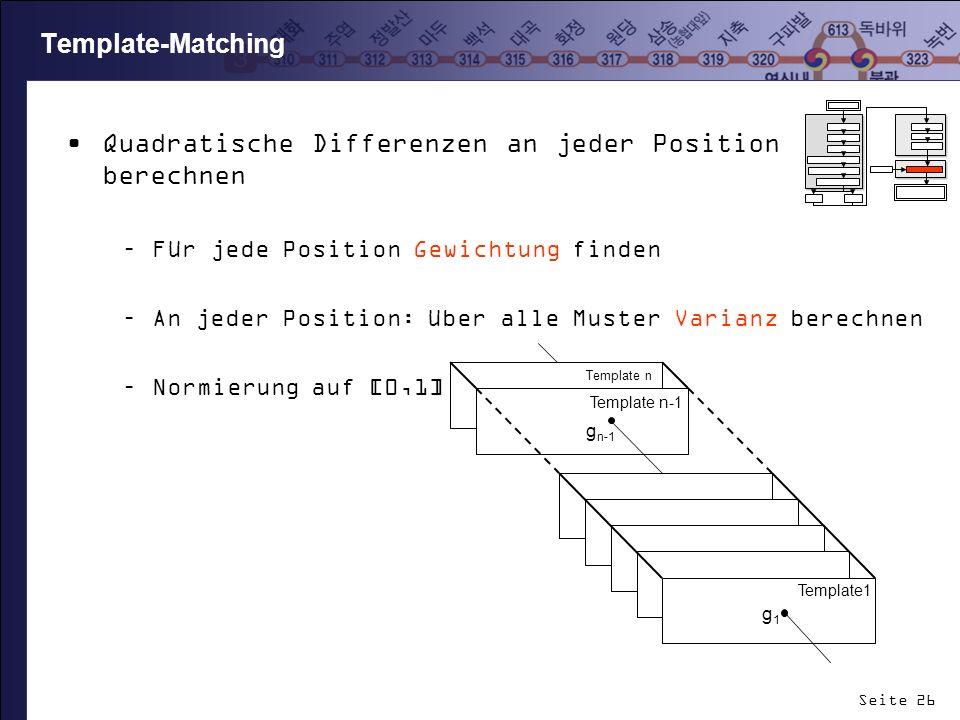 Seite 26 Template-Matching Quadratische Differenzen an jeder Position berechnen –Für jede Position Gewichtung finden –An jeder Position: über alle Mus
