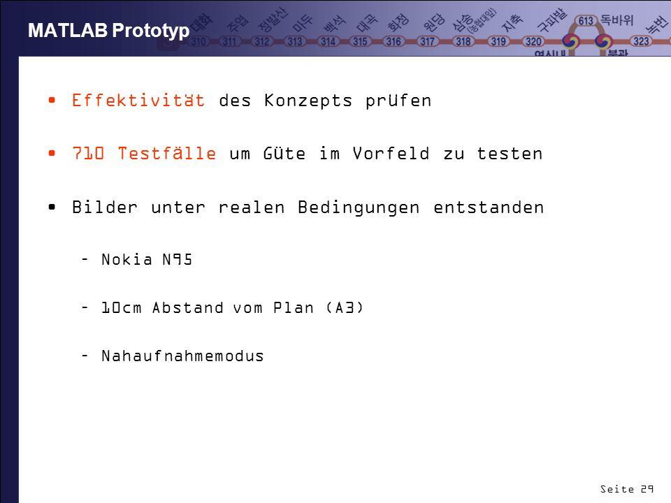 Seite 29 MATLAB Prototyp Effektivität des Konzepts prüfen 710 Testfälle um Güte im Vorfeld zu testen Bilder unter realen Bedingungen entstanden –Nokia
