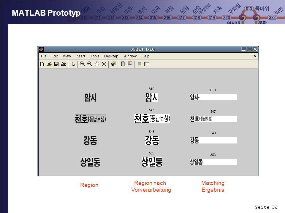 Seite 32 MATLAB Prototyp Region Region nach Vorverarbeitung Matching Ergebnis