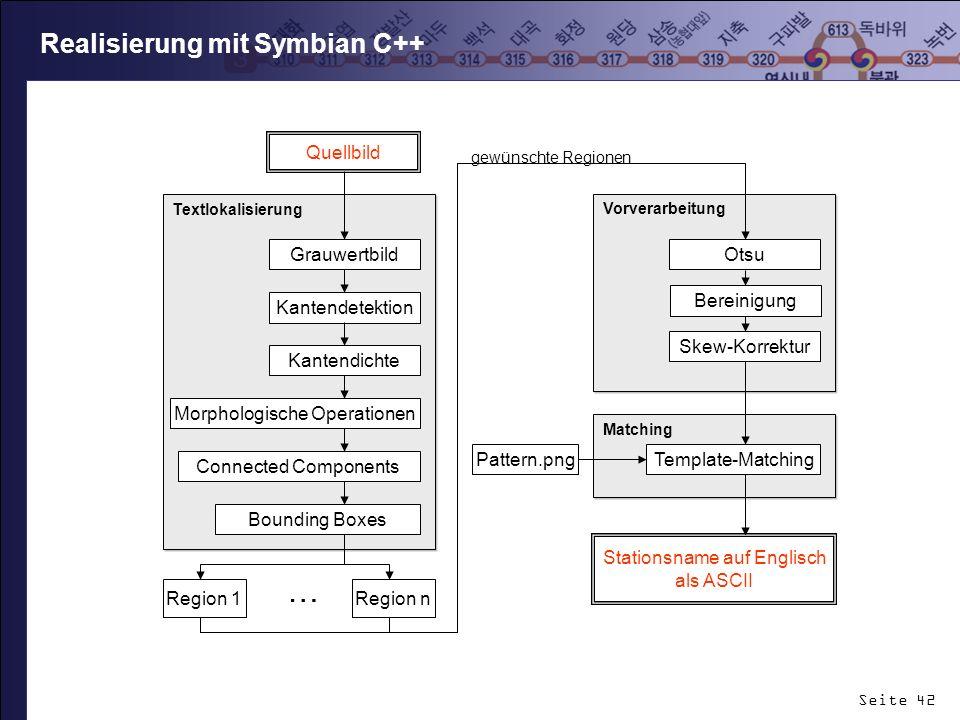 Seite 42 Realisierung mit Symbian C++ Vorverarbeitung Textlokalisierung Grauwertbild Kantendetektion Kantendichte Skew-Korrektur Otsu Matching Templat