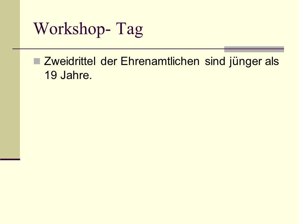 Workshop- Tag Zweidrittel der Ehrenamtlichen sind jünger als 19 Jahre.
