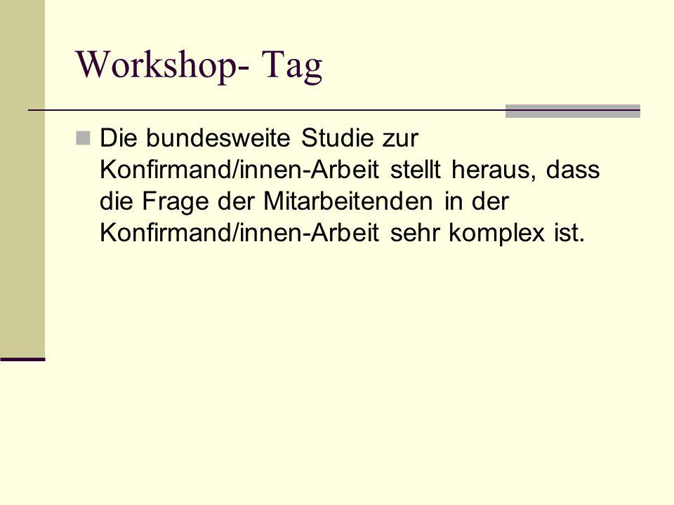 Workshop- Tag Die bundesweite Studie zur Konfirmand/innen-Arbeit stellt heraus, dass die Frage der Mitarbeitenden in der Konfirmand/innen-Arbeit sehr komplex ist.