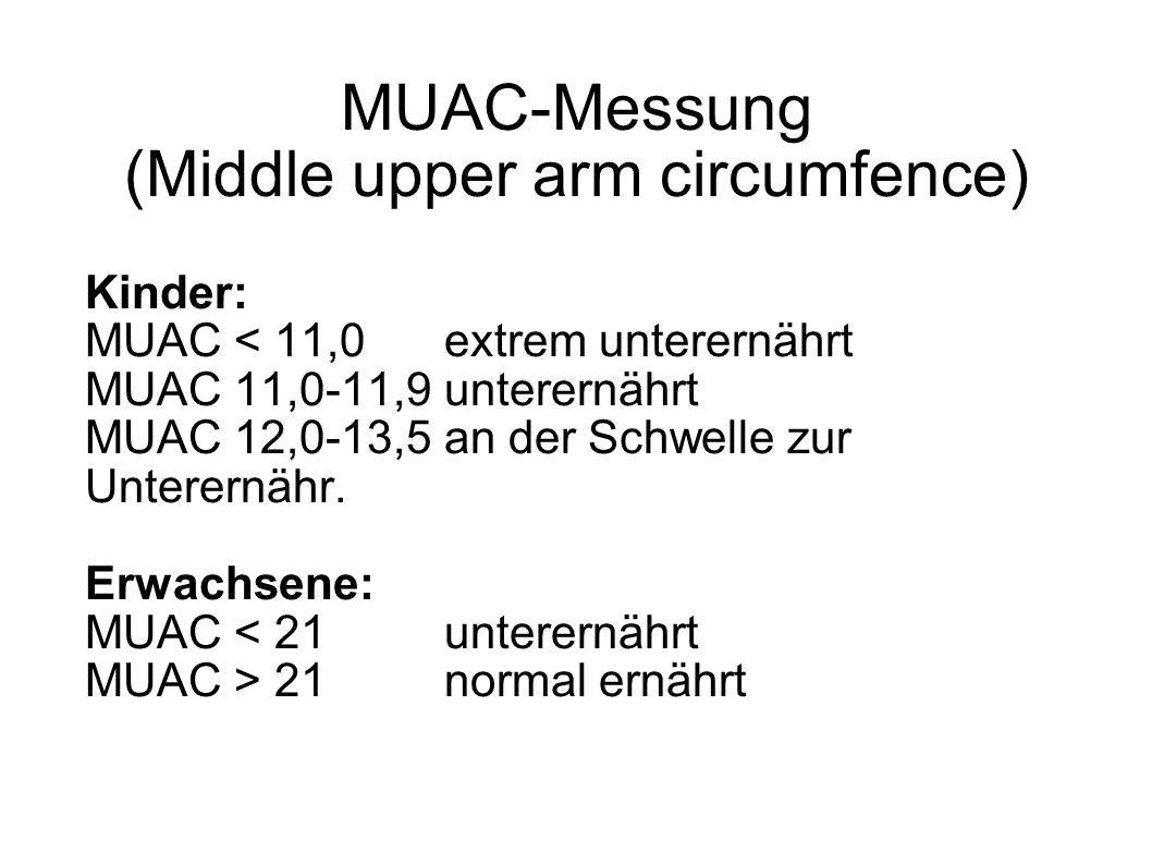 MUAC-Messung (Middle upper arm circumfence) Kinder: MUAC < 11,0extrem unterernährt MUAC 11,0-11,9unterernährt MUAC 12,0-13,5an der Schwelle zur Untere