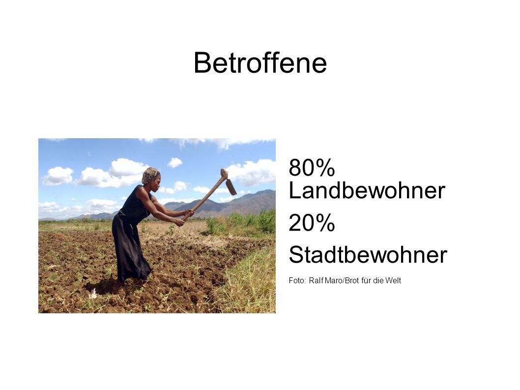 Betroffene 80% Landbewohner 20% Stadtbewohner Foto: Ralf Maro/Brot für die Welt