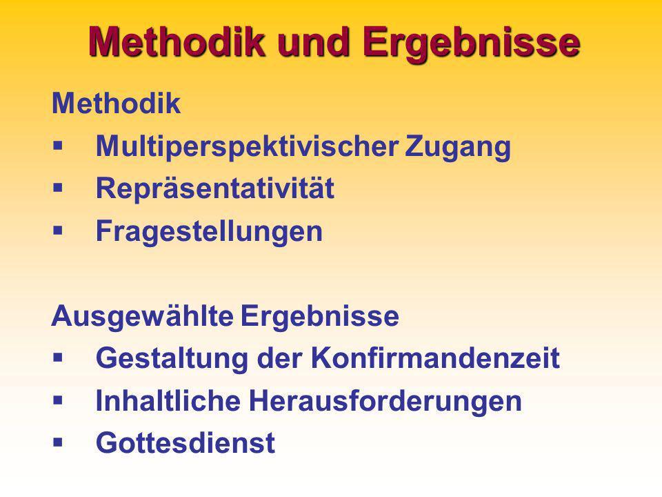 Methodik und Ergebnisse Methodik Multiperspektivischer Zugang Repräsentativität Fragestellungen Ausgewählte Ergebnisse Gestaltung der Konfirmandenzeit Inhaltliche Herausforderungen Gottesdienst