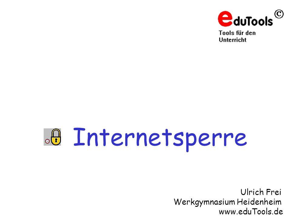 www.eduTools.de Vorteile der Internetsperre Integration in die Musterlösung Für Win9x, WinNT, Win2000 und WinXP Raumbezogenen Sperrung des Internets durch Lehrer Internetzugang kann für die Räume zeitbezogen gesperrt werden.