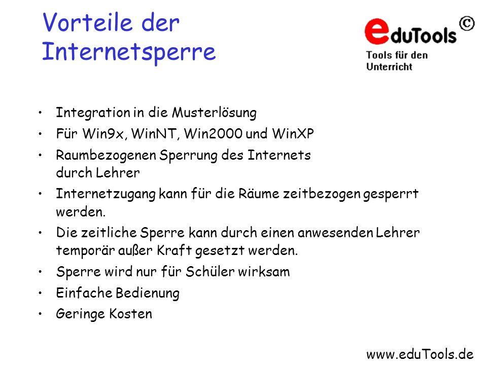 www.eduTools.de Vorteile der Internetsperre Integration in die Musterlösung Für Win9x, WinNT, Win2000 und WinXP Raumbezogenen Sperrung des Internets d
