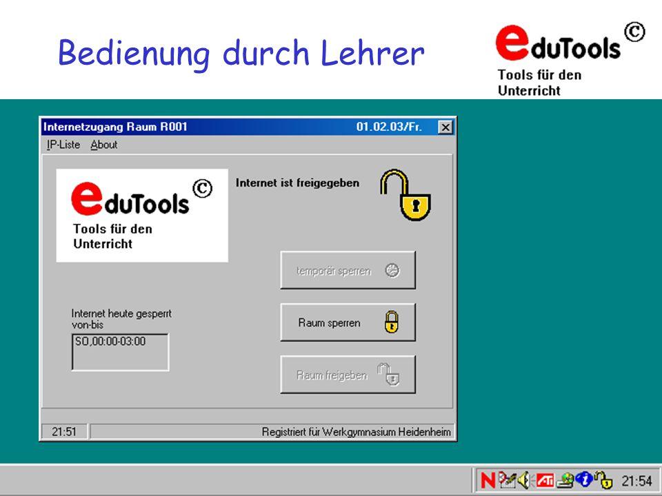 www.eduTools.de [Einstellungen] ServerIP=10.1.1.2 netmask=255.255.0.0 lockinipath = k:\internetsperre\ini Voraussetzungen für den Einsatz Arbeitsstationen müssen in der NDS als Workstations registriert sein.