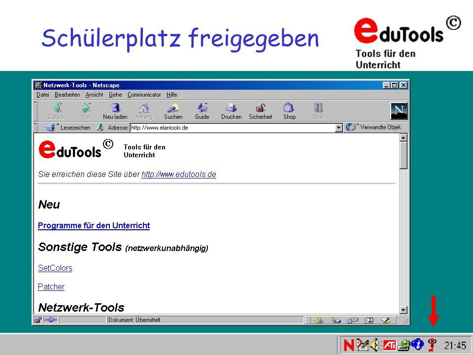 www.eduTools.de Schülerplatz freigegeben