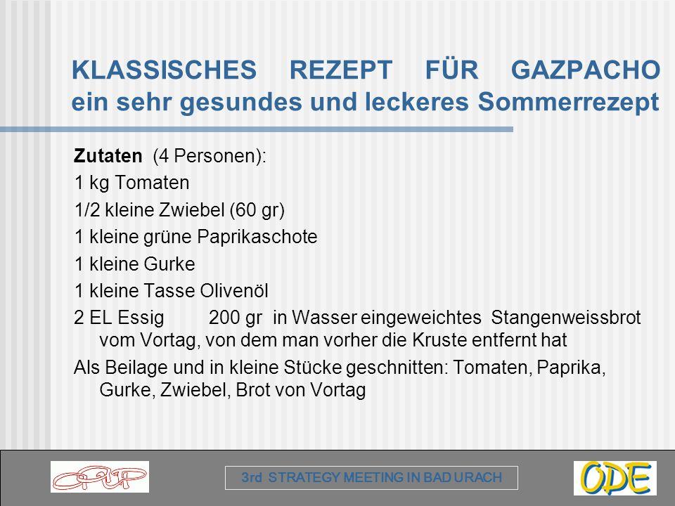 3rd STRATEGY MEETING IN BAD URACH KLASSISCHES REZEPT FÜR GAZPACHO ein sehr gesundes und leckeres Sommerrezept Zutaten (4 Personen): 1 kg Tomaten 1/2 k