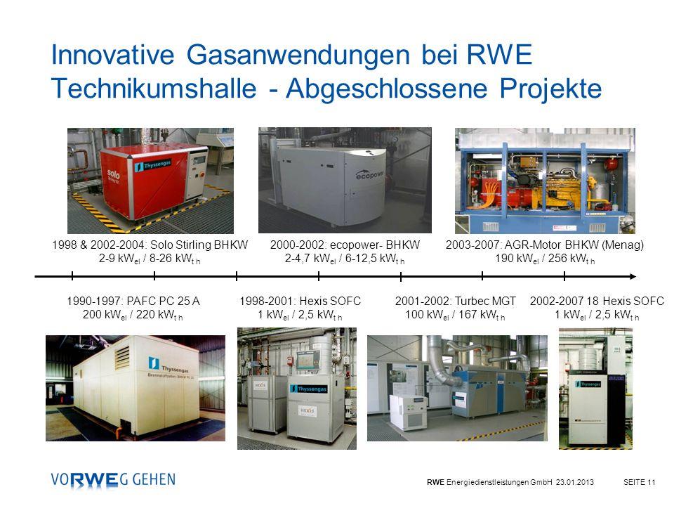 RWE Energiedienstleistungen GmbH 23.01.2013SEITE 11 Innovative Gasanwendungen bei RWE Technikumshalle - Abgeschlossene Projekte 1990-1997: PAFC PC 25