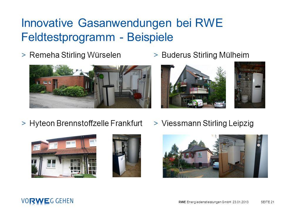 RWE Energiedienstleistungen GmbH 23.01.2013SEITE 21 >Buderus Stirling Mülheim >Viessmann Stirling Leipzig >Remeha Stirling Würselen >Hyteon Brennstoff