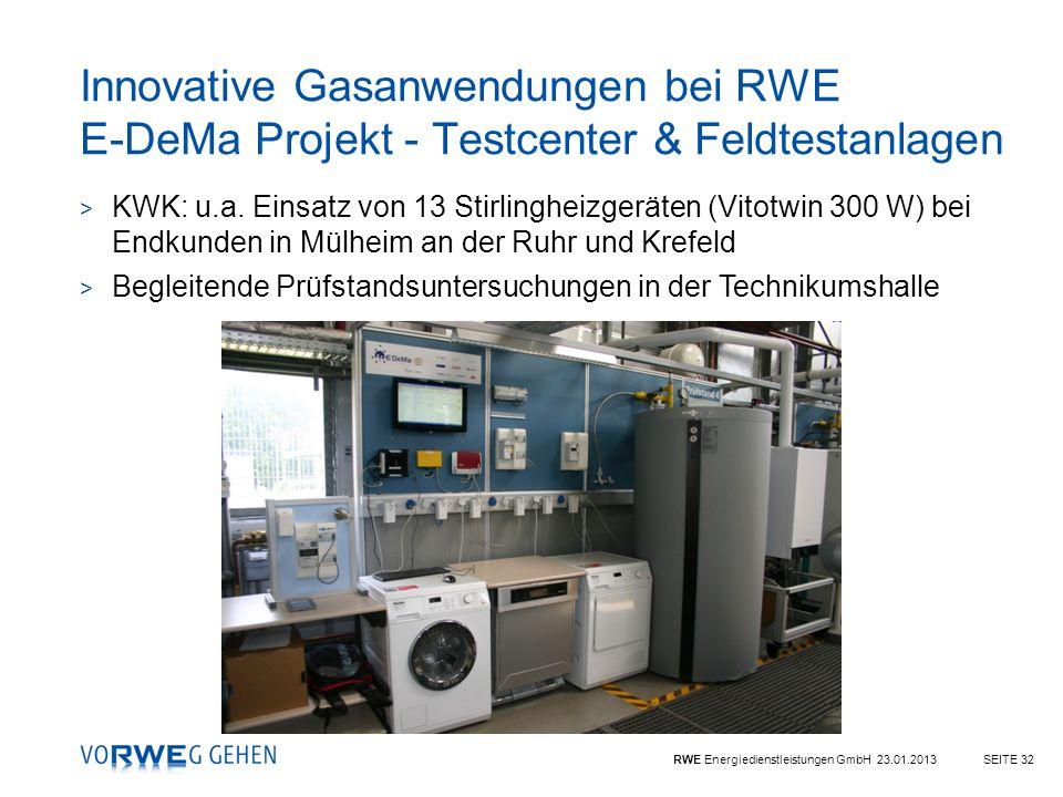 RWE Energiedienstleistungen GmbH 23.01.2013SEITE 32 Innovative Gasanwendungen bei RWE E-DeMa Projekt - Testcenter & Feldtestanlagen > KWK: u.a. Einsat