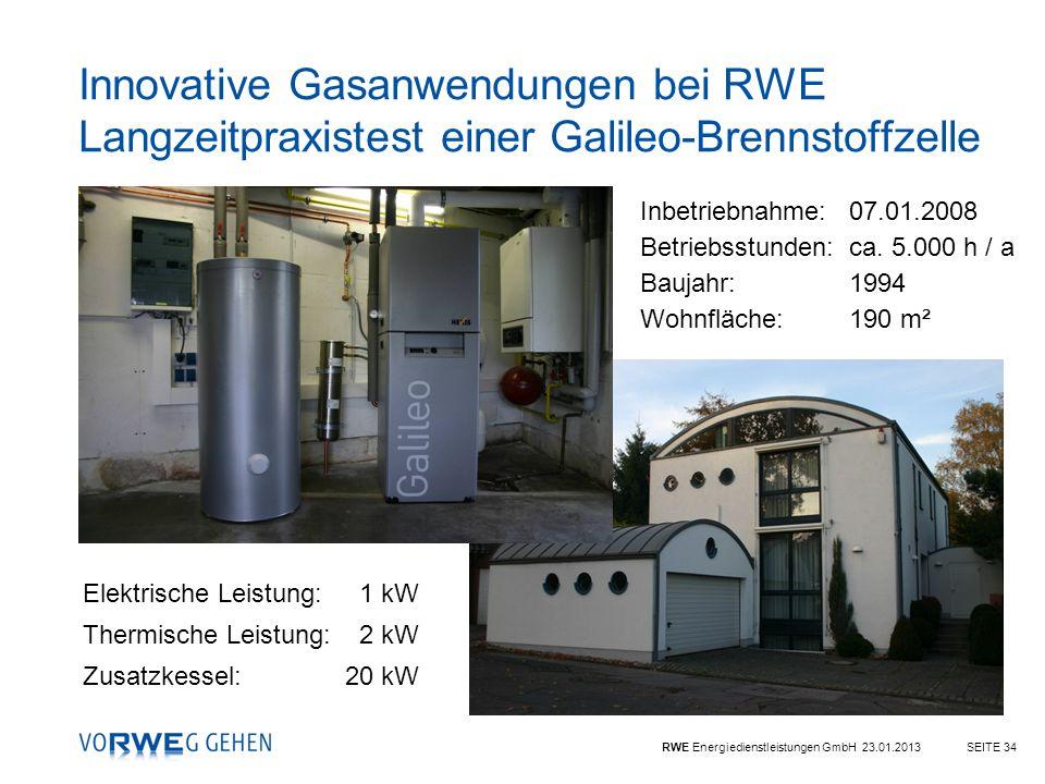 RWE Energiedienstleistungen GmbH 23.01.2013SEITE 34 Inbetriebnahme: 07.01.2008 Betriebsstunden:ca. 5.000 h / a Baujahr:1994 Wohnfläche:190 m² Innovati