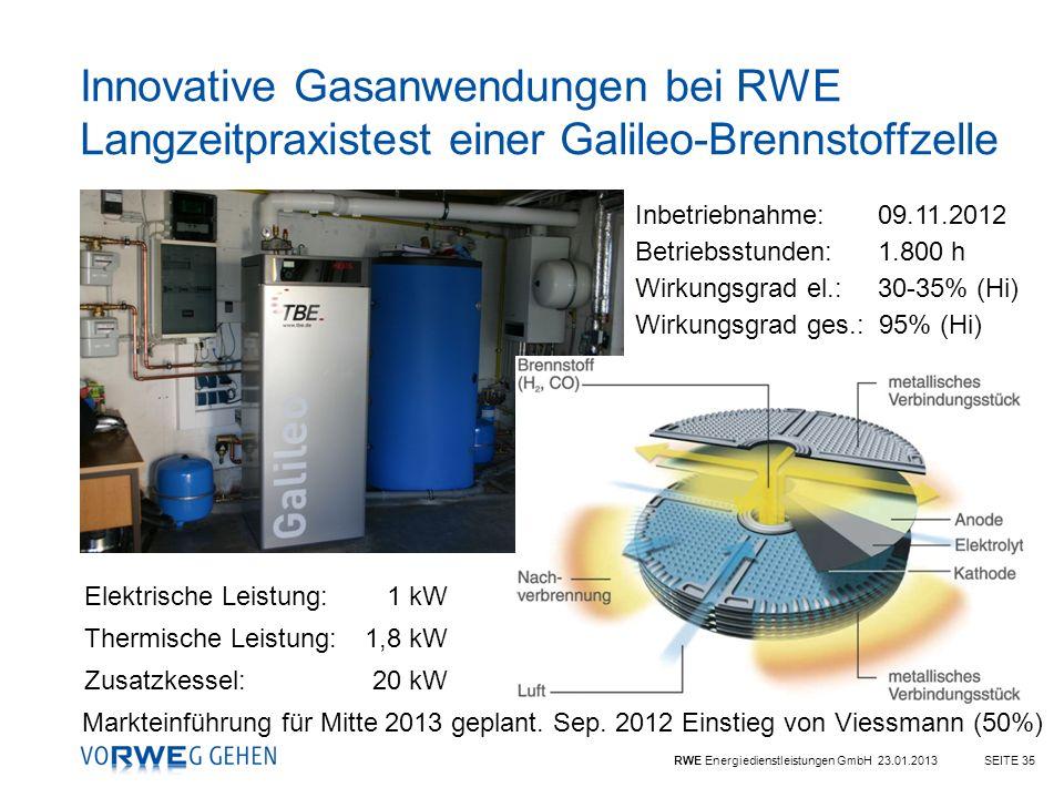 RWE Energiedienstleistungen GmbH 23.01.2013SEITE 35 Inbetriebnahme: 09.11.2012 Betriebsstunden: 1.800 h Wirkungsgrad el.: 30-35% (Hi) Wirkungsgrad ges